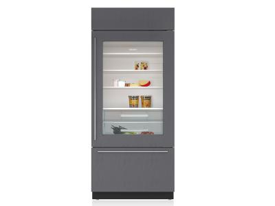 "36"" SUBZERO  Built-In Over-and-Under Glass Door Refrigerator/Freezer - Panel Ready - BI-36UG/O-LH"