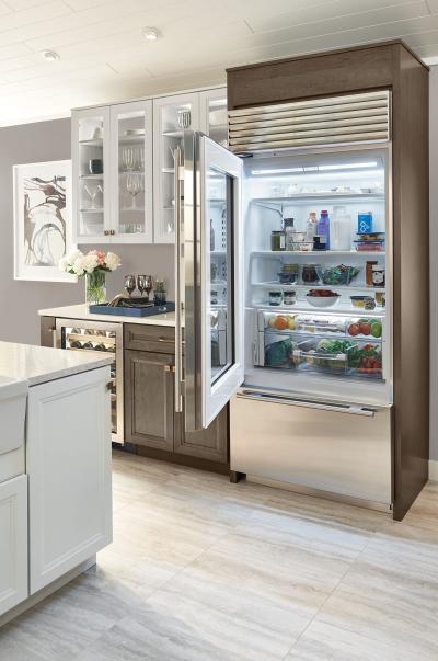 "36"" SUBZERO  Built-In Over-and-Under Glass Door Refrigerator/Freezer - Panel Ready - BI-36UG/O-LH"