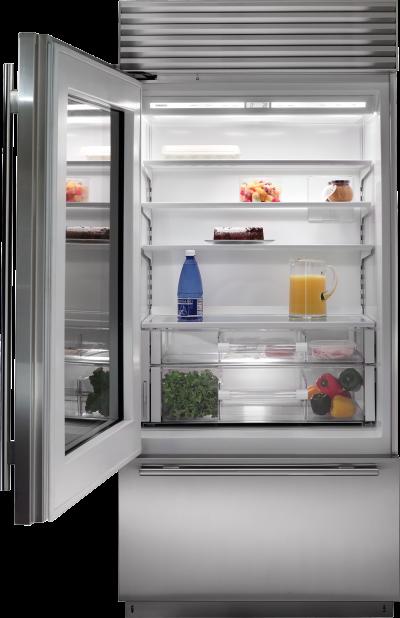 "36"" SUBZERO Built-In Over-and-Under Glass Door Refrigerator/Freezer - BI-36UG/S/TH-RH"