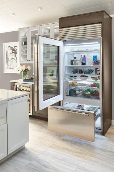 "36"" SUBZERO Built-In Over-and-Under Glass Door Refrigerator/Freezer - BI-36UG/S/TH-LH"