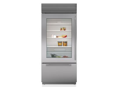 "36"" SUBZERO Built-In Over-and-Under Glass Door Refrigerator/Freezer - BI-36UG/S/TH-LH"