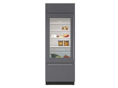 "30"" SUBZERO  Built-In Over-and-Under Glass Door Refrigerator/Freezer - Panel Ready - BI-30UG/O-LH"