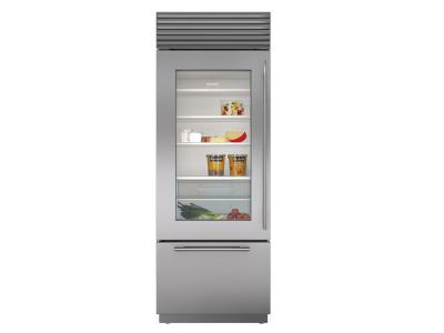 "30"" SubZero Built-In Over-and-Under Glass Door Refrigerator/Freezer - BI-30UG/S/TH-LH"