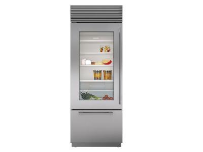"30"" SubZero Built-In Over-and-Under Glass Door Refrigerator/Freezer - BI-30UG/S/PH-RH"