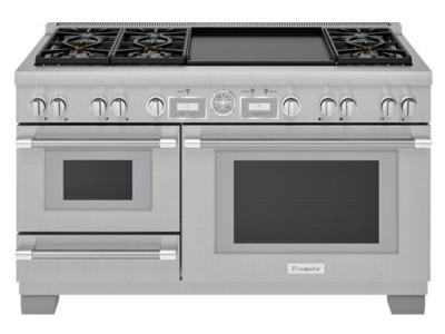 "60"" Thermador Pro Grand  Commercial Depth Dual Fuel Steam Range - PRD606WESG"