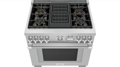 "36"" Thermador Professional Dual-Fuel Commercial-Depth Range - PRD364WLGC"