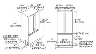 """36"""" Thermador Built in French Door Bottom Freezer - T36IT901NP"""